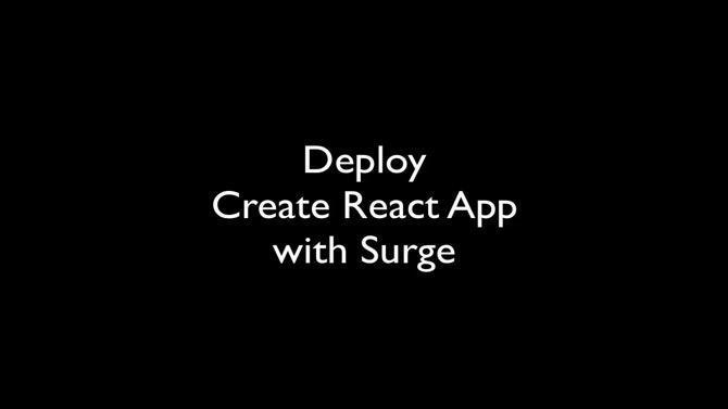 Deploy Create React App to Surge