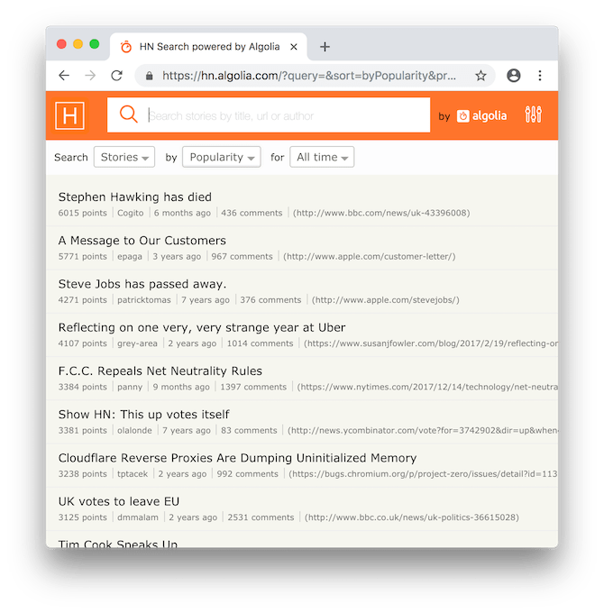 Hacker News Search screenshot