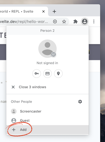 Choosing Guest from the Chrome Profile menu
