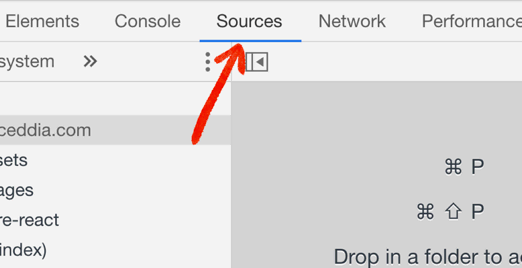 Pointing out the location of the Sources tab
