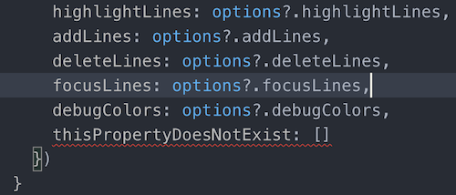 A TypeScript error underlined by the default red error squiggles
