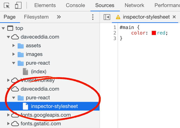 Where to find the inspector-stylesheet file