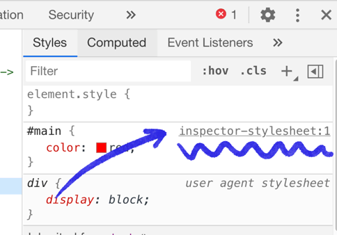 Pointing out the inspector-stylesheet link in the sidebar