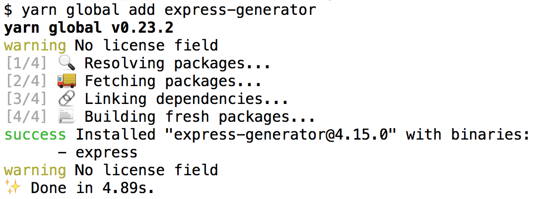 Output from installing express-generator