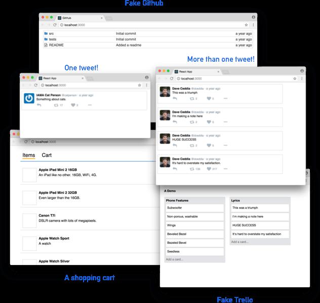 Tweets, Trello, Shopping List, and a Github clone