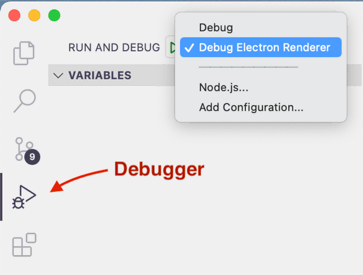 Launch the VSCode debugger and then attach it to Rust inside Electron