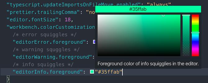 VSCode color picker window